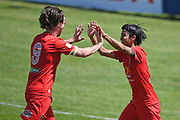 Canterbury United's Garbhan Coughlan and Yuya Taguchi celebrate a goal in the Handa Premiership football match, Hawke's Bay United v Canterbury United, Bluewater Stadium, Napier, Sunday, December 06, 2020. Copyright photo: Kerry Marshall / www.photosport.nz