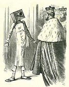 The Ballot Bill standing up to the House of Lords. John Tenniel cartoon from 'Punch', London, 20 July 1872.