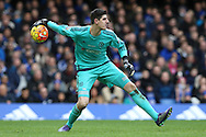 Goalkeeper Thibaut Courtois of Chelsea in action. Barclays Premier league match, Chelsea v Stoke city at Stamford Bridge in London on Saturday 5th March 2016.<br /> pic by John Patrick Fletcher, Andrew Orchard sports photography.