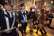 October 29, 2016, Tokyo, Japan: In the Shibuya district, the heart of Japanese youth culture, Halloween celebrations have exploded in the past few years. Up until this boom, Halloween celebrations were minimal across the city. But Shibuya has now become Halloween central with tens of thousands of costumed party goers invading it's streets to promenade en-costume or hit club events in the area. This informal street gathering has become so big, this year the Tokyo Metropolitan Police Dept. decided to close off two main streets adjacent to Shibuya Station. They also had a full force of highly organized officers directing pedestrian traffic. When Oct. 31 falls on a weekday, ninety percent of Halloween celebrations across Japan take place on the preceding Saturday. (Torin Boyd/Polaris).