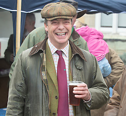 © Licensed to London News Pictures. 26/12/2018. Chiddingstone, UK.Nigel Farage enjoing an early morning beer, Old Surrey Burstow and West Kent Boxing day Hunt meet at Chiddingstone Castle,Chiddingstone. Photo credit: Grant Falvey/LNP