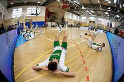 Players of Olimpija at warming up prior to the basketball match between KK Krka Novo mesto and KK Union Olimpija Ljubljanaat finals of 11th Slovenian Spar Cup 2012, on February 19, 2012 in Sports hall Brezice,  Brezice, Slovenia. (Photo By Vid Ponikvar / Sportida.com)