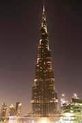 The famous Burj Khalifa, the tallest building in the world, as of 2021 in Dubai, United Arab Emirates as seen from the Souk Al Bahar
