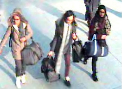 BEST QUALITY AVAILABLE Undated handout file still taken from CCTV issued by the Metropolitan Police of (left to right) 15-year-old Amira Abase, Kadiza Sultana, 16, and Shamima Begum before catching a flight to Turkey in 2015 to join the Islamic State group, Shamima Begum is now heavily pregnant and wants to come home.