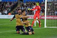 Laurent Koscielny of Arsenal ® celebrates with teammate Olivier Giroud after he scores his teams 2nd goal. Barclays Premier league match, Swansea city v Arsenal  at the Liberty Stadium in Swansea, South Wales  on Saturday 31st October 2015.<br /> pic by  Andrew Orchard, Andrew Orchard sports photography.