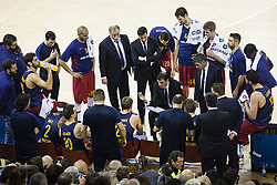 January 27, 2017 - Barcelona, Spain - Gregorios Bartzokas talking to his players in a time out during the Euroleague Turkish Airlines EuroLeague regular season between FC Barcelona vs Baskonia Vitoria Gasteiz at Palau Blaugrana on January 28th, 2017 in Barcelona, Spain. (Credit Image: © Xavier Bonilla/NurPhoto via ZUMA Press)
