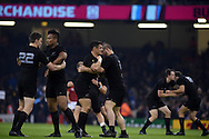 All black players go through a warm up routine ahead of the second half. Rugby World Cup 2015 quarter-final match, New Zealand v France at the Millennium Stadium in Cardiff, South Wales  on Saturday 17th October 2015.<br /> pic by  Andrew Orchard, Andrew Orchard sports photography.