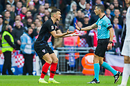 Tasos Sidiropoulos, Referee listening to a protest during the UEFA Nations League match between England and Croatia at Wembley Stadium, London, England on 18 November 2018.