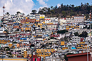 Colorful homes on the hillside overlooking the Plaza Independencia in Pachuca, Hidalgo State, Mexico.