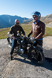 Alan Stulberg of Revival Cycles (Austin) on Bryan Bossier's 1933 Brough Superior 11-50 that he co-rode with teammate Paul D'Orleans at the top of Loveland Pass during Stage 10 (278 miles) of the Motorcycle Cannonball Cross-Country Endurance Run, which on this day ran from Golden to Grand Junction, CO., USA. Monday, September 15, 2014.  Photography ©2014 Michael Lichter.