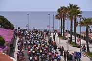 Start, Landscape, Peloton, Alghero City, Pink, Sea, during the 100th Tour of Italy 2017, Giro d'Italia, Stage 1, Alghero - Olbia (206km), on May 5, in Sardegna, Italy - Photo Tim De Waele / ProSportsImages / DPPI