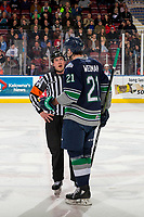 KELOWNA, CANADA - JANUARY 30:  Matthew Wedman #21 of the Seattle Thunderbirds speaks to referee Ryan Okeeffe on the ice against the Kelowna Rockets on January 30, 2019 at Prospera Place in Kelowna, British Columbia, Canada.  (Photo by Marissa Baecker/Shoot the Breeze)