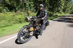 Andreas Andy Kaindl of Germany on his 1915 Henderson during the Motorcycle Cannonball Race of the Century. Stage-3 from Morgantown, WV to Chillicothe, OH. USA. Monday September 12, 2016. Photography ©2016 Michael Lichter.