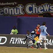 Jimmy Medranda, Sporting KC, on the ball during the New York City FC Vs Sporting Kansas City, MSL regular season football match at Yankee Stadium, The Bronx, New York,  USA. 27th March 2015. Photo Tim Clayton