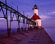 Catwalk leading to the St. Joseph North Pier Inner Light on Lake Michigan, St. Joseph, Michigan.