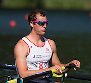 Lucerne, SWITZERLAND. GBR M4- Scott DURANT,   heat of the men's four, 2015 FISA World Cup III, Lake Rotsee,  08:39:17  Friday  10/07/2015   [Mandatory Credit. Peter SPURRIER/Intersport Images.