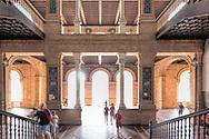 Visitors inside Plaza de España, Seville, Spain