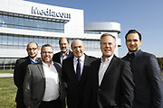 SHOT 10/31/18 11:35:41 AM - Mediacom Communications Corporation is a cable television and communications provider headquartered in Chester, New York. Founded in 1995 by Rocco B. Commisso, it serves primarily smaller rural markets in the Midwest and Southern United States. In the group photo Mediacom's Jack Griffin, Mark Stephan, Tom Larsen, Ruben Martino, Rocco Commisso and CoBank RM Gary Franke. (Photo by Marc Piscotty © 2018)