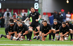 TJ Perenara leads the HAka during the Castle Lager Rugby Championship test match between South Africa and New Zealand held at Kings Park stadium in Durban on the 8th October 2016<br /> <br /> Photo by:  RealTime Images