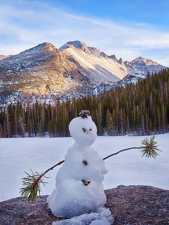 A miniature snowman at Bear Lake, Rocky Mountain National Park.