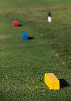 ALCAIDESA - SPANJE -  tee, markers, kleur, blokjes, afstanden, afslaan, afslag, geel, blauw, rood, telbox,   Links Golf. COPYRIGHT KOEN SUYK