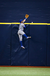 August 23, 2017 - St. Petersburg, Florida, U.S. - WILL VRAGOVIC   |   Times.Toronto Blue Jays center fielder Kevin Pillar (11) can't get to the home run by Tampa Bay Rays right fielder Steven Souza Jr. (20) in the fourth inning of the game between the Toronto Blue Jays and the Tampa Bay Rays at Tropicana Field in St. Petersburg, Fla. on Wednesday, Aug. 23, 2017. (Credit Image: © Will Vragovic/Tampa Bay Times via ZUMA Wire)
