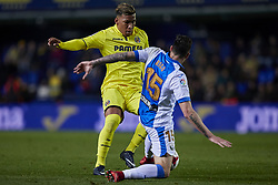January 10, 2018 - Vila-Real, Castellon, Spain - Roger Martinez (L) of Villarreal CF competes for the ball with Diego Rico of CD Leganes during the Copa del Rey Round of 16, second leg game between Villarreal CF and CD Leganes on January 10, 2018 in Vila-real, Spain  (Credit Image: © David Aliaga/NurPhoto via ZUMA Press)