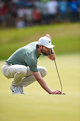 March 24, 2018 - Austin, TX, U.S. - AUSTIN, TX - MARCH 24: Kyle Stanley lines up a putt during the quarterfinals of the WGC-Dell Technologies Match Play on March 24, 2018 at Austin Country Club in Austin, TX. (Photo by Daniel Dunn/Icon Sportswire) (Credit Image: © Daniel Dunn/Icon SMI via ZUMA Press)