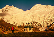 Sunrise, Kangshung face Chomolungma, Mt Everest from camp on Pethang Ringmo, Kangshung valley, Tibet