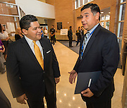 Superintendent Richard Carranza is greeted by Rene Sanchez during a stop of his Listen & Learn Tour of the district at Chavez High School, September 15, 2016.