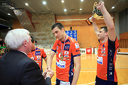 Mirko Brulc, Mitja Gasparini and Andrej Flajs at finals of Slovenian volleyball cup between OK ACH Volley and OK Salonit Anhovo Kanal, on December 27, 2008, in Nova Gorica, Slovenia. ACH Volley won 3:2.(Photo by Vid Ponikvar / SportIda).