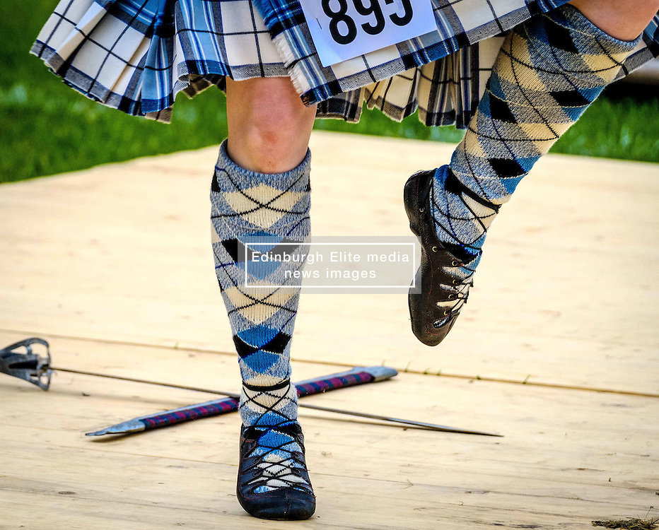 Peebles, Scotland UK  3rd September 2016. Peebles Highland Games, the biggest 'highland' games in the Scottish  Borders took place in Peebles on September 3rd 2016 featuring pipe band contests, highland dancing competitions, haggis hurling, hammer throwing, stone throwing and other traditional events.<br /> <br /> Pictured:  Highland dancing competition in progress<br /> <br /> (c) Andrew Wilson   Edinburgh Elite media