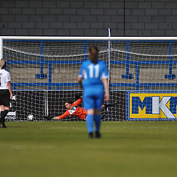 TELFORD COPYRIGHT MIKE SHERIDAN GOAL. (Knowle 7) scores a penalty to make it 1-1 during the Women's FA Cup 1Q fixture between AFC Telford United and Knowle Ladies at the New Bucks Head on Sunday, September 20, 2020.<br /> <br /> Picture credit: Mike Sheridan/Ultrapress<br /> <br /> MS202021-027