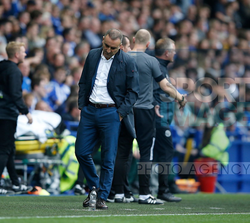 Carlos Carvalhal manager of Sheffield Wednesday dejected during the Championship match at the Hillsborough Stadium, Sheffield. Picture date 24th September 2017. Picture credit should read: Simon Bellis/Sportimage
