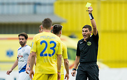 Referee Roberto Ponis with yellow card in his hand for Gregor Sikosek od Domzale during football match between NK Domzale and NK Celje in 16th Round of Prva liga Telekom Slovenije 2018/19, on November 11, 2018 in Sportni Park, Domzale, Slovenia. Photo by Vid Ponikvar / Sportida