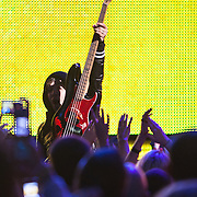 Pete Wentz of the band Fallout Boy during the Pepsi Smash event prior to the Superbowl.