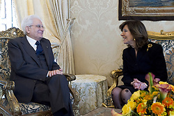 Italy, Rome - April 18, 2018.Senate speaker Maria Casellati waiting at Quirinale palace for a meeting with the Italian President Sergio Mattarella where he is expected to ask her to mediate with political parties to see if they can reach agreement on the formation of a new government. .Elisabetta Alberti Casellatiat Quirinale palace file dated April 13, 2018.From left Sergio Mattarella and Maria Elisabetta Alberti Casellati (Credit Image: © Us/Ropi via ZUMA Press)