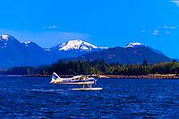 Floatplane taxiing, Ketchikan, Southeast Alaska USA