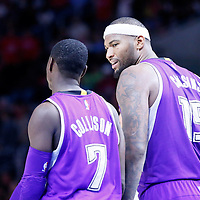 02 November 2014: Sacramento Kings center DeMarcus Cousins (15) talks to Sacramento Kings guard Darren Collison (7) during the Sacramento Kings 98-92 victory over the Los Angeles Clippers, at the Staples Center, Los Angeles, California, USA.