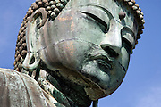 close up of the face of the Great Buddha of Kamakura