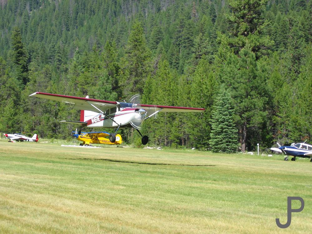 Cessna landing at Johnson Creek, ID