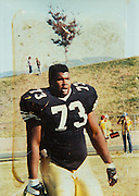 ***Photo Requested by Clarence E. Hill, Jr.***<br /> <br /> An old photo of former Dallas Cowboys guard Larry Allen, Jr. during his football career at Butte College in Oroville, California, photographed at his home in Danville, California, on June 27, 2013.  Allen will be inducted into the NFL Hall of Fame during the Enshrinement Ceremony at Fawcett Stadium in Canton, Ohio, on August 2, 2013. (Stan Olszewski for Fort Worth Star-Telegram)
