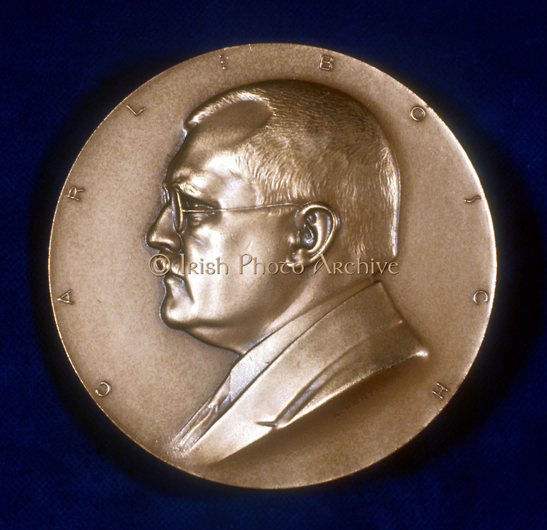 Karl  (Carl) Bosch (1874-1940) German chemist. Haber-Bosch process for sulphate of ammonia. Shared 1931 Nobel prize for chemistry with Friedrich Bergius. Obverse of commemorative medal.