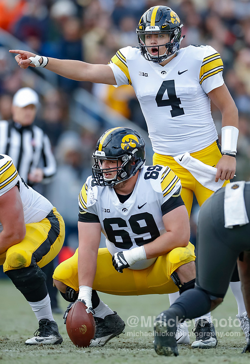 WEST LAFAYETTE, IN - NOVEMBER 03: Nate Stanley #4 of the Iowa Hawkeyes is seen during the game against the Purdue Boilermakers at Ross-Ade Stadium on November 3, 2018 in West Lafayette, Indiana. (Photo by Michael Hickey/Getty Images) *** Local Caption *** Nate Stanley
