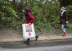 © Licensed to London News Pictures. 28/04/2019. London, UK. Extinction Rebellion activists have joined with Stop HS2 protestors to occupy trees in Colne Valley to stop their felling for the HS2 rail project. Workers were expected to start cutting down the trees yesterday and to continue today but the protests have stopped the work. Photo credit: Peter Macdiarmid/LNP