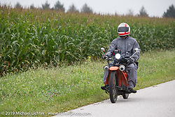 Bennett Pierce rode a 1923 NeraCar in the Motorcycle Cannonball coast to coast vintage run. Stage 5 (229 miles) from Bowling Green, OH to Bourbonnais, IL. Wednesday September 12, 2018. Photography ©2018 Michael Lichter.