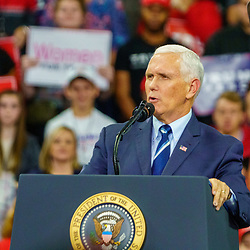 Hershey, PA / USA - December 7, 2019:  US Vice President Mike Pence speaking at a political rally after the US Congress House Leaders announced impeachment proceedings against President Trump.
