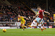 Sam Vokes of Burnley scores his teams 1st goal from.the penalty spot.  Skybet football league Championship match, Burnley v Rotherham United at Turf Moor in Burnley, Lancs on Saturday 20th February 2016.<br /> pic by Chris Stading, Andrew Orchard sports photography.