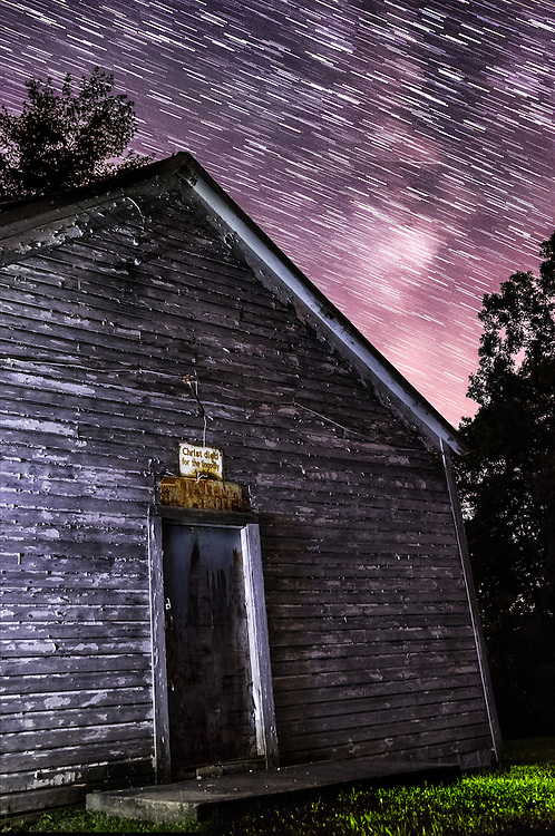 Star trails with visible milky way over the abandoned Staten Chapel and cemetery in Glenwood (Mason County), West Virginia.  Built in 1918, the title of this image comes from the old rusted sign above the door.