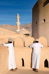 Omani schoolboys visiting Nizwa Fort in Nizwa Oman